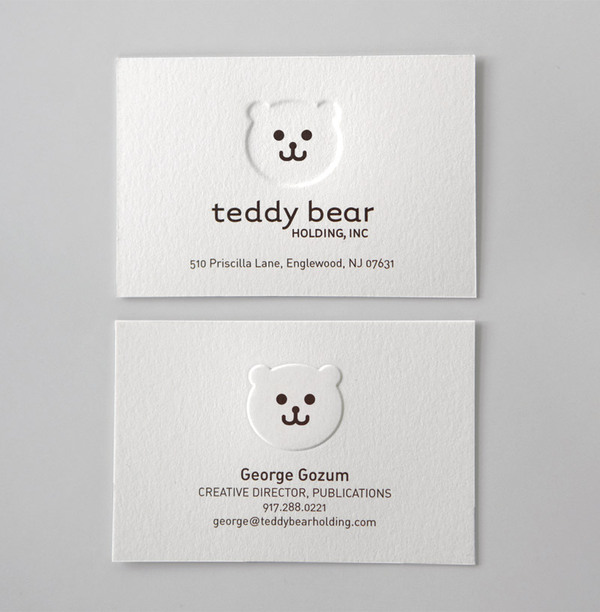 Teddy Bear Holding - emboss business cards