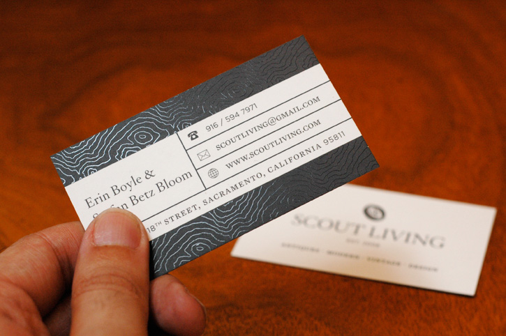 Scout Living - spot varnish business card