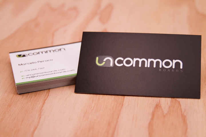 Uncommon Boards - spot UV business cards